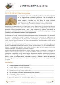 Fichas de compresión lectora para primaria y para niños: La historia de las pirámides de egipto.
