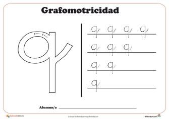 """Ficha de grafomotricidad con la letra """"Q"""""""