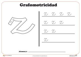 """Ficha de grafomotricidad con la letra """"Z"""""""
