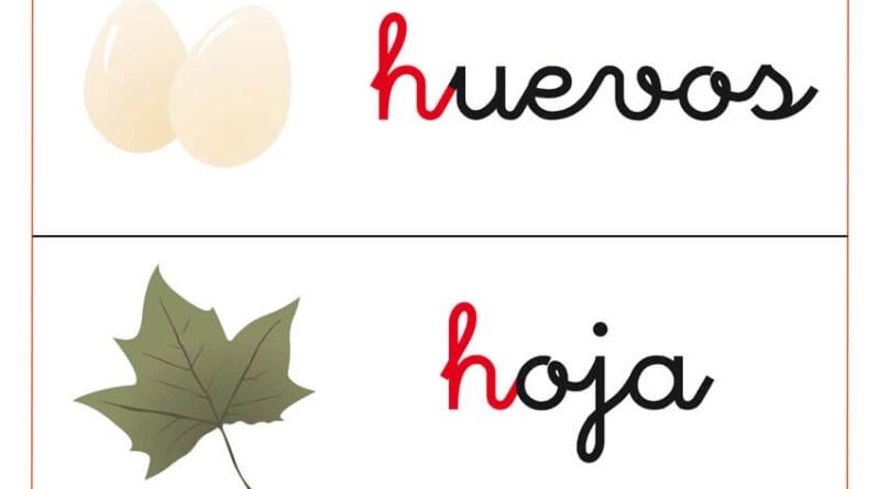 fichas de vocabulario con letra h y fichas de letras con la letra h
