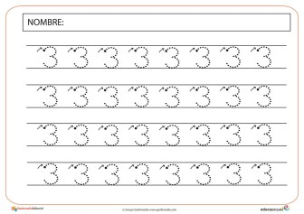 fichas de grafomotricidad, grafomotricidad, numero 3, numero tres, recursos para el aula, recursos educativos, recursos didácticos, fichas de números y fichas de matemáticas