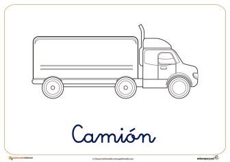 camion ficha transporte colorear