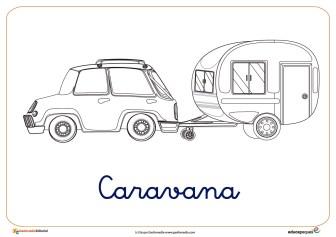 caravana ficha verano colorear