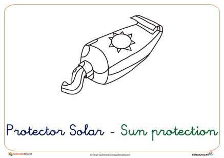 protector solar ficha verano colorear