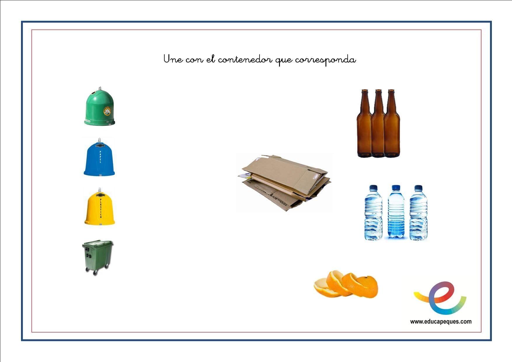 Planificación de reciclaje para niños de preescolar