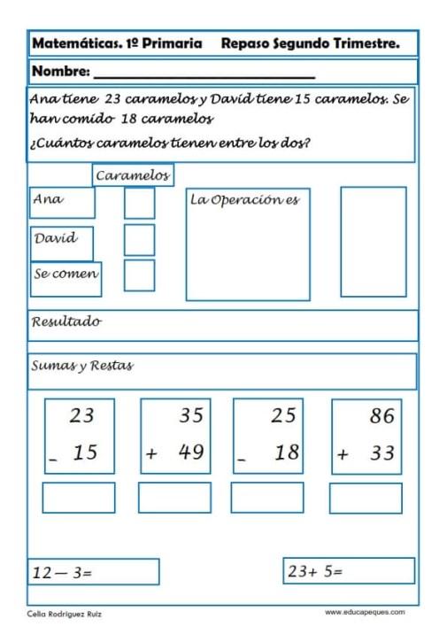 fichas matemáticas primero primaria 020