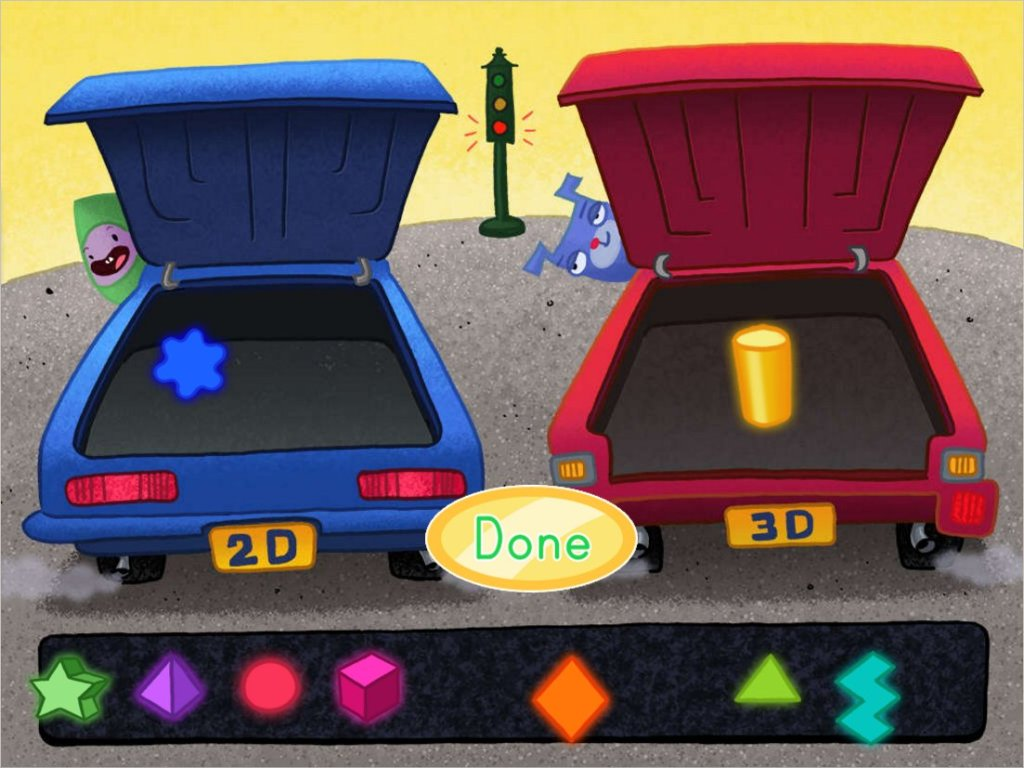 2d And 3d Shape Sort Car