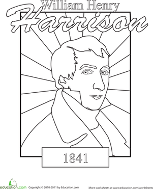 Color A US President William Henry Harrison Worksheet