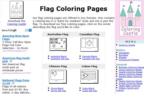 6 websites with free printable flags for children