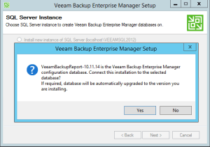 11 - Confirm upgrade of Veeam Backup Enteprise Database