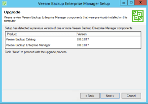 6 - Veeam confirming versions to be upgraded