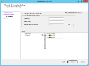 Setting up IP Address for the VMKernel