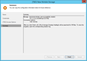 Adding Nimble Storage to Veeam - New Nimble Storage - Confirm and finish