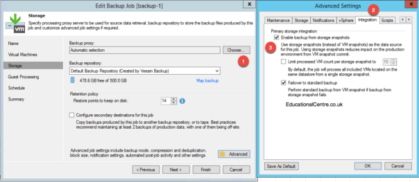 Veeam and Nimble Storage Integration - Backup from Snapshot - Job Settings