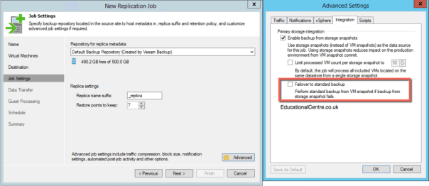 Veeam and Nimble Storage Integration - Replicating from a Snapshot- Job Settings