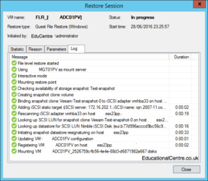 Veeam and Nimble Storage Integration - Restoring from Snapshot - Guest Files - Restore Session 00