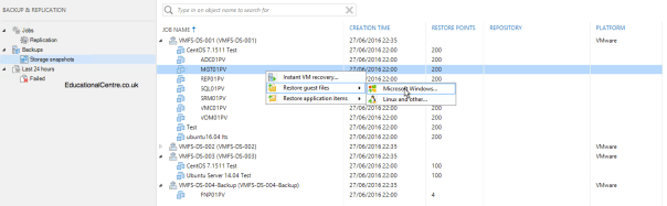 Veeam and Nimble Storage Integration - Restoring from Snapshot - Guest Files