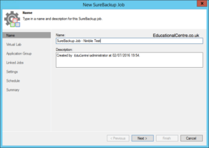 Veeam and Nimble Storage Integration - SureBackup - Create SureBackup Job