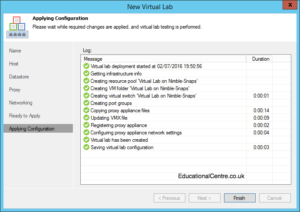 Veeam and Nimble Storage Integration - SureBackup - Setting up a Virtual Lab - Applying Configuration Output
