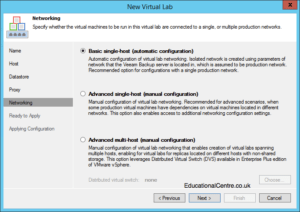Veeam and Nimble Storage Integration - SureBackup - Setting up a Virtual Lab - Configure Networking