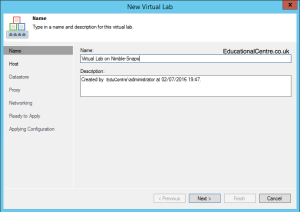 Veeam and Nimble Storage Integration - SureBackup - Setting up a Virtual Lab