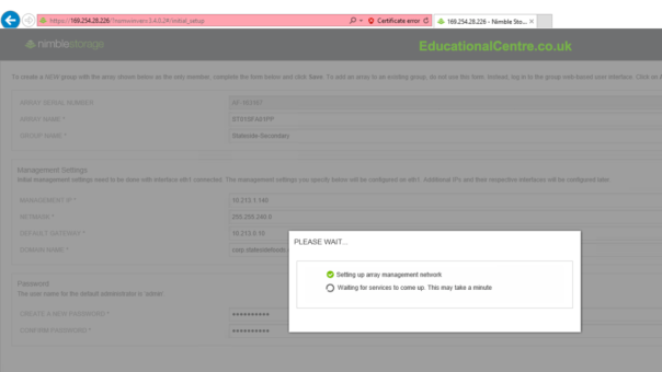 Nimble SFA setup Basic setup initialization waiting for services to come up