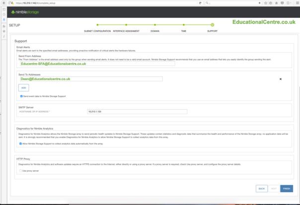 Nimble SFA setup Email Alerts SMTP Server Diagnostics for Nimble Analytics