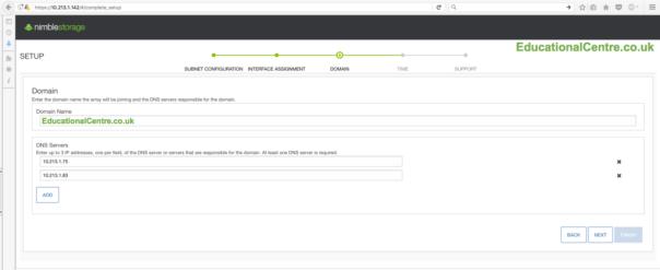 Nimble SFA setup Setup Domain name DNS Servers