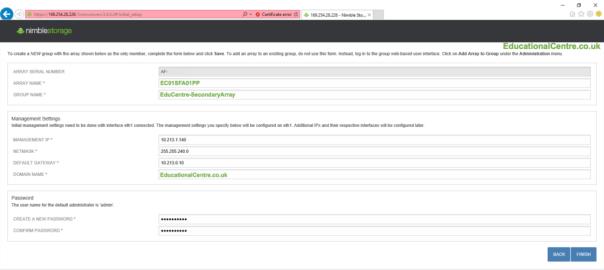 Nimble SFA setup configure basic settings ip address array name password