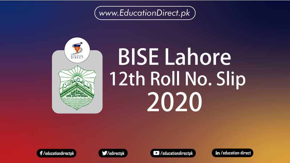 12th Class Roll Number Slips 2020