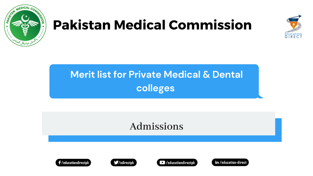 Merit list for Private Medical & Dental colleges