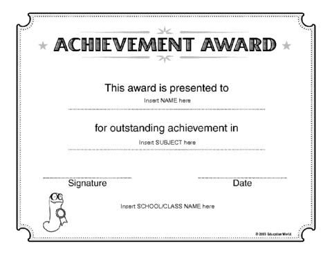 Achievement Certificate Templates wordlayouts com templates – Army Certificate of Achievement Template