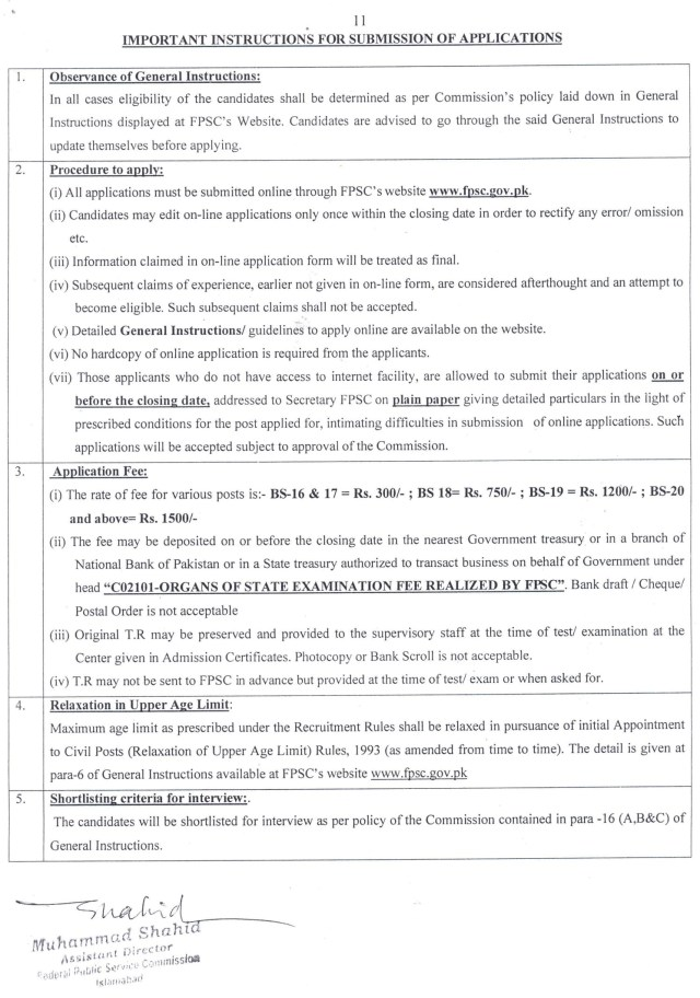 Jobs in Federal Public Service Commission Pakistan FPSC