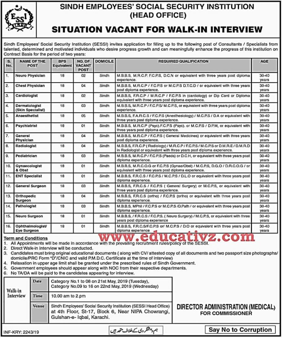 Sindh Jobs 2019 Employees Social Security Institution