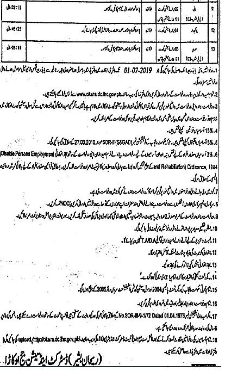 District and Session Court Okara Jobs