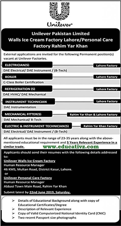 Unilever Pakistan Jobs