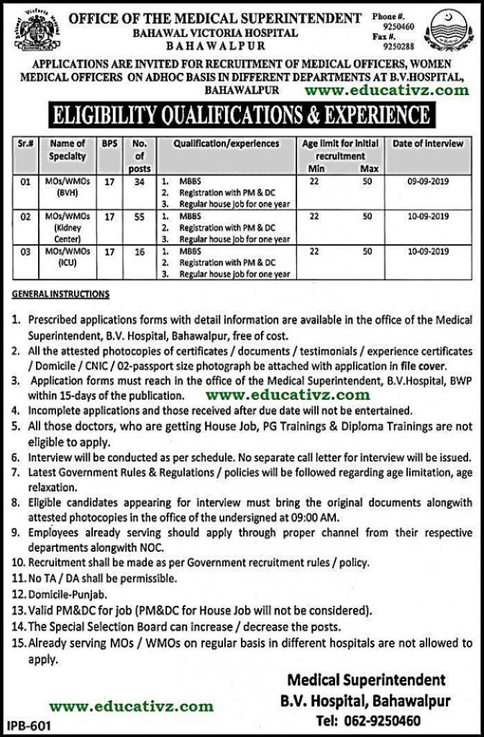 Bahawal Victoria Hospital Jobs 2019