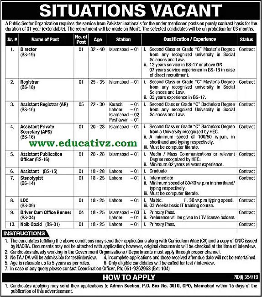 PO Box 3010 GPO Islamabad Jobs 2019