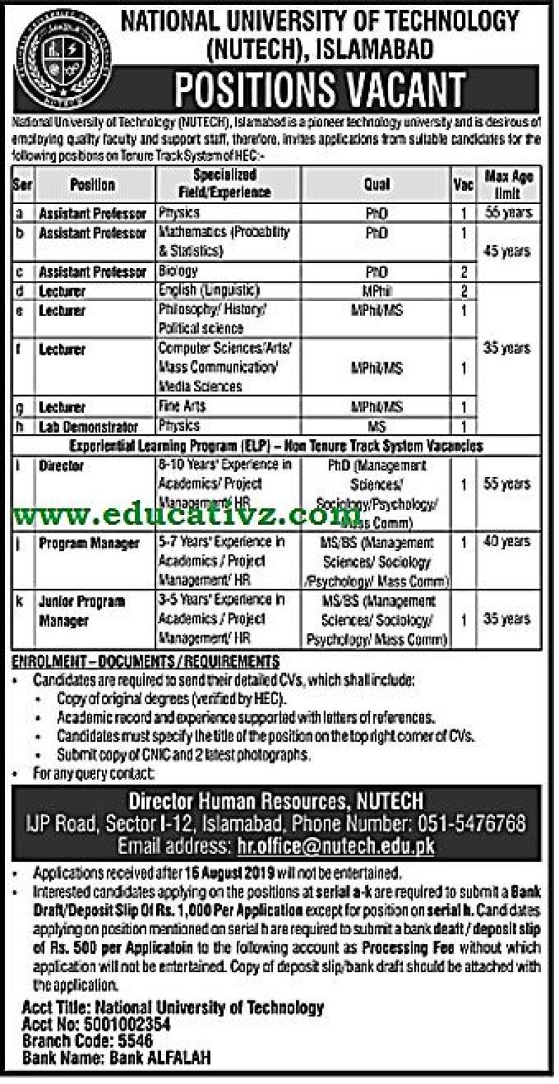 National University of Technology Jobs 2019