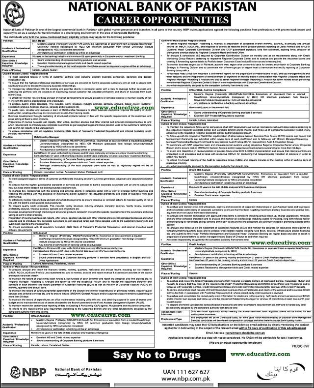 Jobs in National Bank of Pakistan 2019