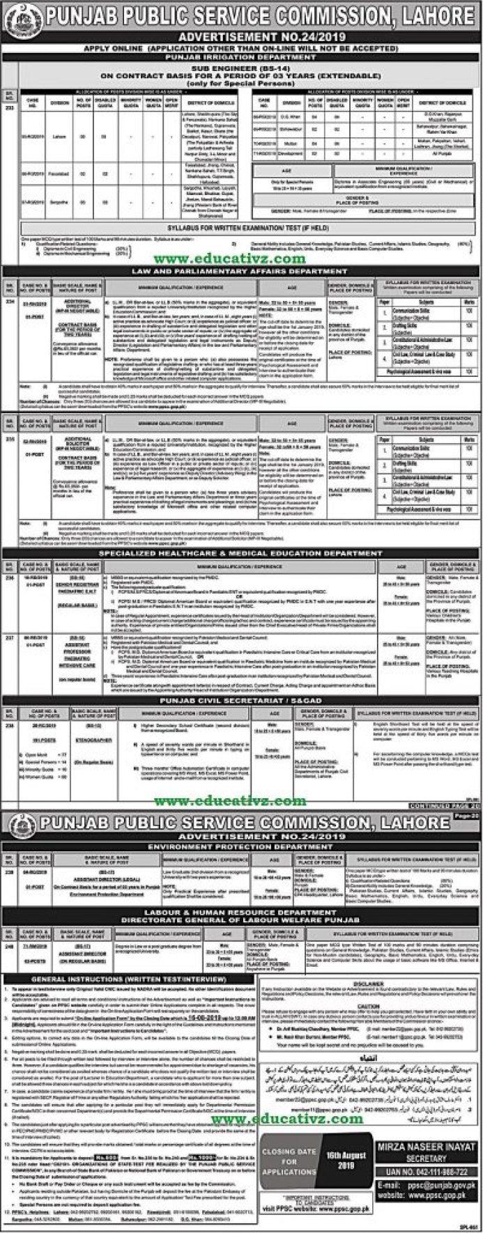 Jobs in PPSC 2019 Advertisement 24/2019