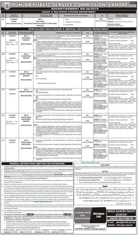 Jobs In PPSC Advertisement 26/2019