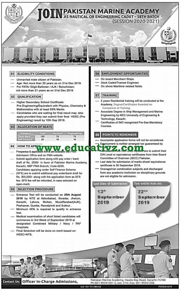 Jobs in Pakistan Marine Academy 2019