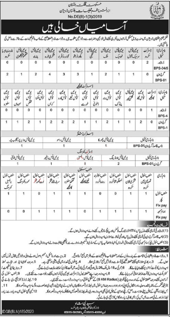 Education Department Government of Gilgit Baltistan Jobs 2020 for Teaching & Non-Teaching Staff Latest
