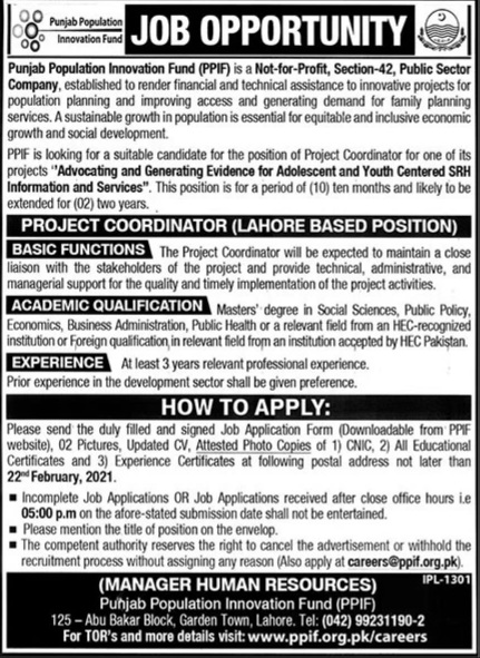 New Jobs in Punjab Population Innovation Fund (PPIF) Application Form