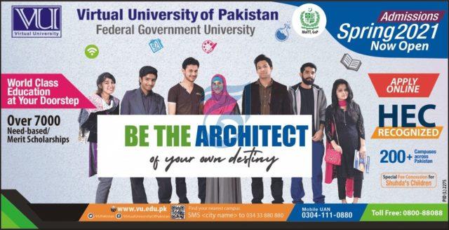 VU Admissions 2021-Virtual University of Pakistan Latest