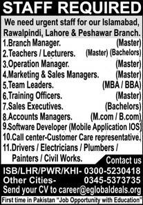 Private Jobs 2021 in Punjab Islamabad Lahore Rawalpindi Peshawar
