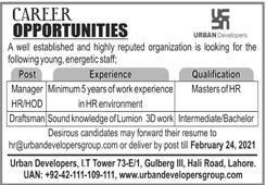 Manager HR/HOD & Draftsman Jobs 2021 In Urban Developers Lahore