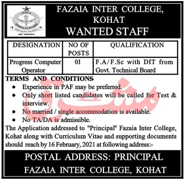 Fazaia Inter College Jobs 2021 Latest Advertisement