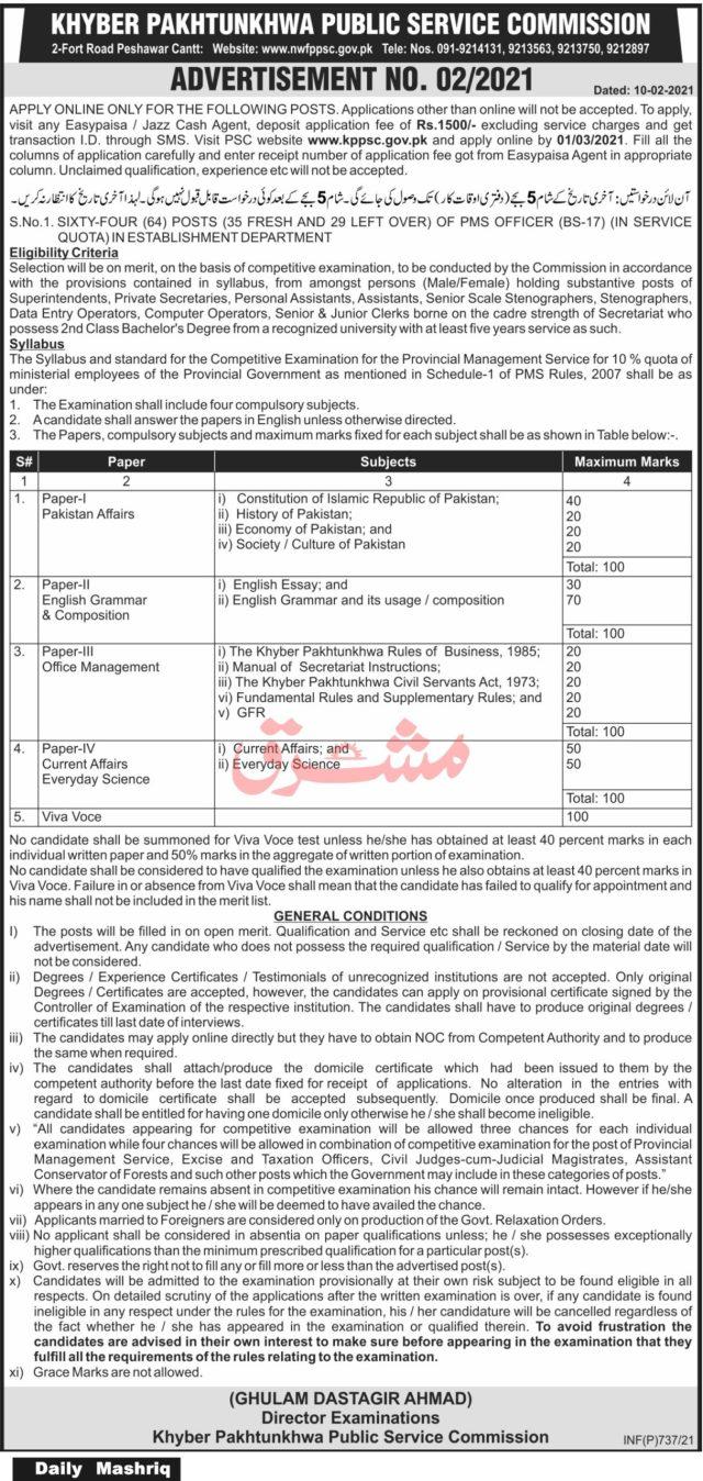 PMS Jobs in KPK 2021 - KPPSC Advertisement No. 2 / 2021